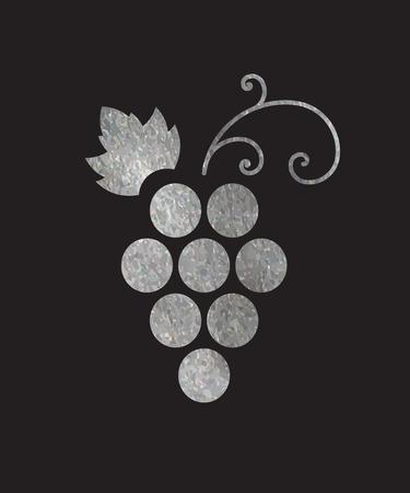 Silver textured grapes logo. Luxury wine or vine logotype icon. Brand design element for organic wine.