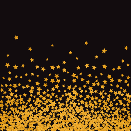 Abstract pattern of random falling golden stars on black background. Elegant pattern for banner, greeting card, Christmas and New Year card, invitation, postcard, paper packaging. Vector illustration.