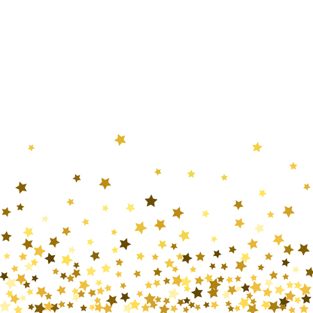 Abstract pattern of random falling gold stars on white background. Glitter pattern for banner, greeting card, Christmas and New Year card, invitation, postcard, paper packaging.