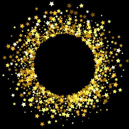 Round gold frame or border of random scatter golden stars on black background. Design element for festive banner, birthday and greeting card, postcard, wedding invitation.