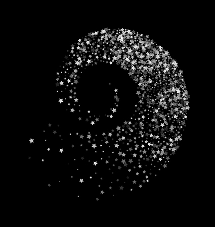 Abstract decoration of translucent star twisted in swirl or vortex. Transparent trail of white particle on black background.