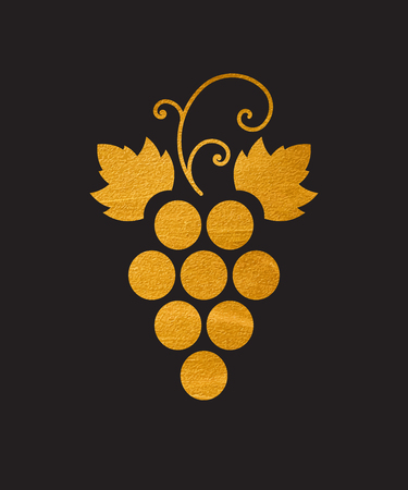 Gold textured grapes logo. Golden wine  logotype icon. Brand design element for organic wine, wine list, menu, liquor store, selling alcohol, wine company. Vector illustration. Vettoriali