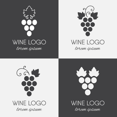 Set of grapes logo. Wine  logotype icon. Brand design element for organic wine, wine list, menu, liquor store, selling alcohol, wine company. Vector illustration.