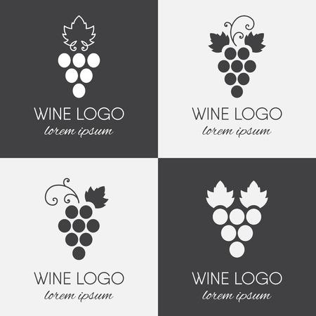 Set of grapes logo. Wine  logotype icon. Brand design element for organic wine, wine list, menu, liquor store, selling alcohol, wine company. Vector illustration.