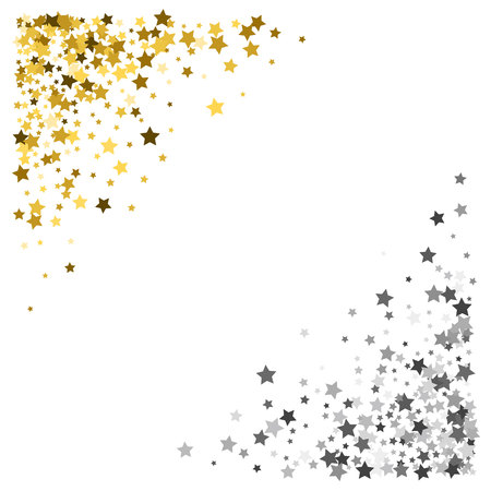 Triangle corner gold and silver frame or border of scatter stars on white background. Design element for festive banner, birthday and greeting card, postcard, wedding invitation. Vector illustration.