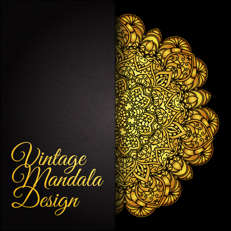 Ethnic decorative round gold textured mandala. Golden hand drawn lace pattern. Elegant floral motif for save the date card, greeting card, wedding invitation. Vector illustration.