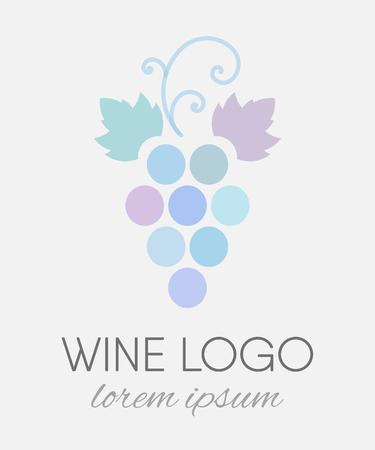 Blue colored grapes logo in line art style. Wine  logotype icon. Brand design element for organic wine, wine list, menu, liquor store, selling alcohol, wine company. Vector illustration.