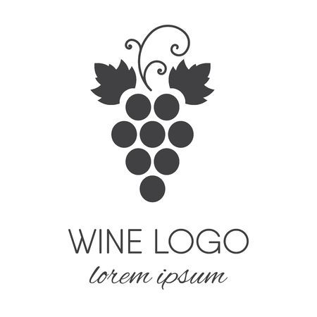 Stylized grapes icon. Wine icon brand design element for organic wine, wine list, menu, liquor store, selling alcohol, wine company vector illustration.