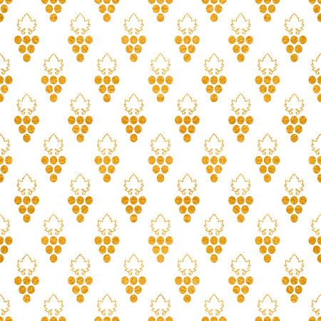 Gold textured seamless pattern of grapes.