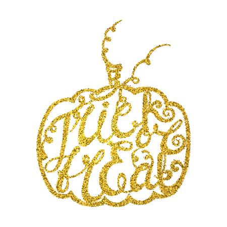Inscription trick or treat inscribed in pumpkin.