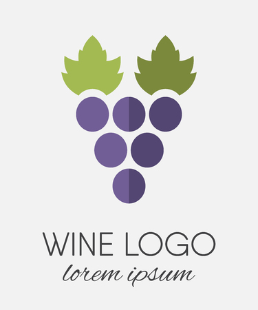 Colored stylized grapes logo in flat style. Wine   logotype icon. Brand design element for organic wine, wine list, menu, liquor store, selling alcohol, wine company. Vector illustration.
