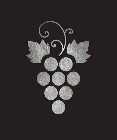 Silver textured grapes logo. Luxury wine  logotype icon. Brand design element for organic wine, wine list, menu, liquor store, selling alcohol, wine company. Vector illustration.