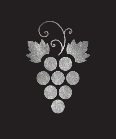 Silver textured grapes logo. Luxury wine  logotype icon. Brand design element for organic wine, wine list, menu, liquor store, selling alcohol, wine company. Vector illustration.