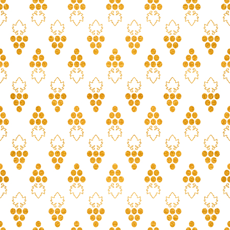 Gold textured seamless pattern of grapes on white background Vector illustration.