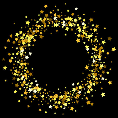 Round gold frame or border of random scatter golden stars on black background. Design element for festive banner, birthday and greeting card, postcard, wedding invitation. Vector illustration. Illustration