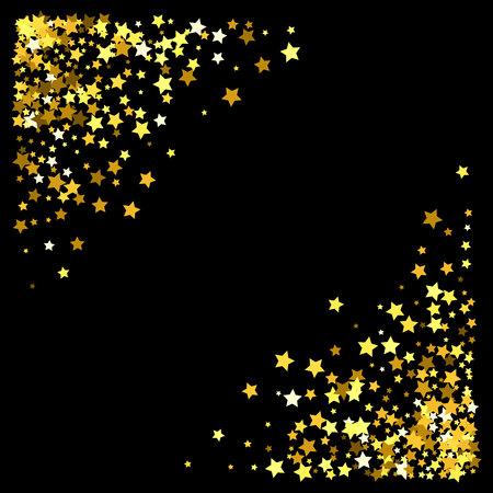 Triangle corner gold frame or border of random scatter stars on black background. Design element for festive banner, birthday and greeting card, postcard, wedding invitation. Vector illustration.