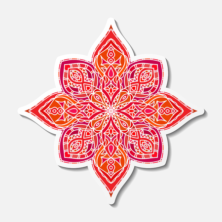 Hand drawn lace red pattern. Ethnic colored decorative mandala. Vector illustration. Stock Vector - 95604216