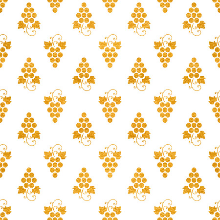 Gold textured seamless pattern of grapes on white background. Vintage design for paper packaging, wrapping paper, banner, invitation, card, certificate, menu. Vector illustration.