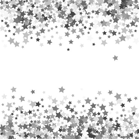 Abstract pattern of random falling silver stars on white background. Glitter template for banner, greeting, Christmas and New Year card, invitation, postcard, paper packaging. Vector illustration.