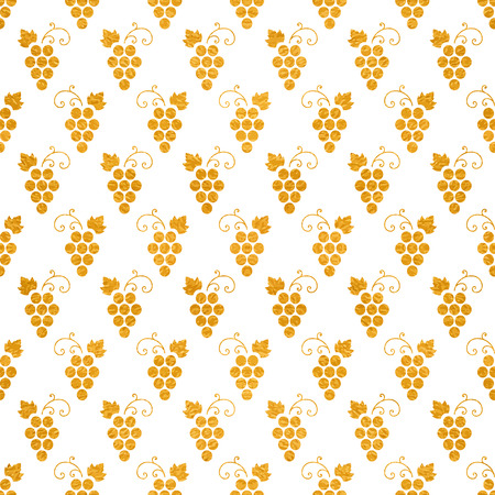 Golg textured seamless pattern of grapes on white background. Vintage design for paper packaging, wrapping paper, banner, invitation, card, certificate, menu. Vector illustration. Illustration