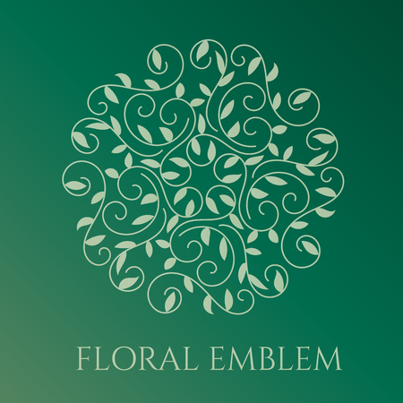 Elegant hand drawn flourish design template in trendy linear sryle. Business, nature, floral, wedding symbol. Design for greeting card, postcard, invitation, banner and flyer. Vector illustration.