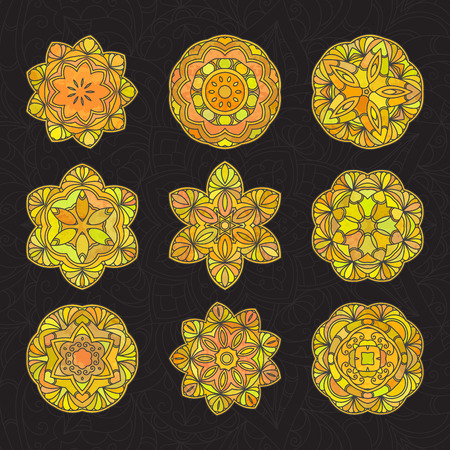 A Hand drawn decorative mandala isolated on plain background.