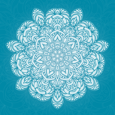 Hand drawn decorative mandala isolated on plain blue background. Illustration