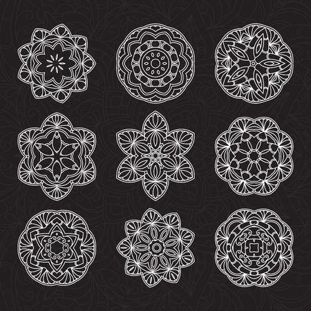 Hand drawn decorative mandala set Illustration