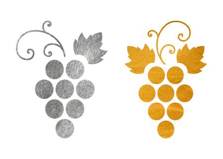 Set of grapes logo isolated on plain background.