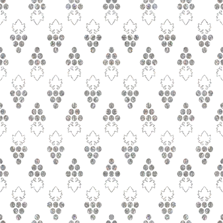 Silver textured seamless pattern of grapes illustration.