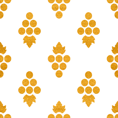 Golg textured seamless pattern of grapes on white background. Vintage design for paper packaging, wrapping paper, banner, invitation, card, certificate, menu. Vector illustration. Vettoriali