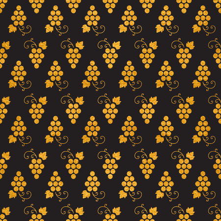 Golg textured seamless pattern of grapes on black background. Vintage design for paper packaging, wrapping paper, banner, invitation, card, certificate, menu. Vector illustration.