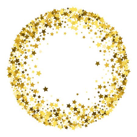 Round gold frame or border of random scatter golden stars on white background. Design element for festive banner, birthday and greeting card, postcard, wedding invitation. Vector illustration.