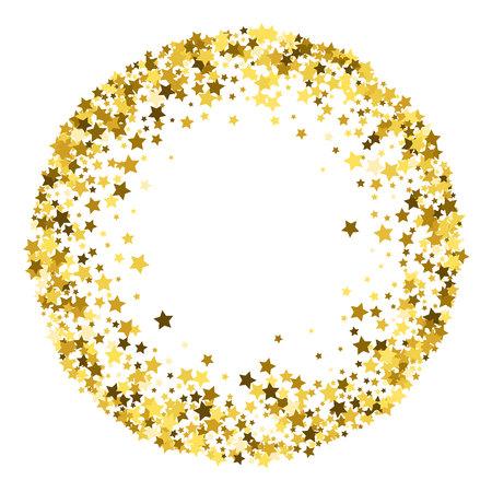 Cadre rond en or ou bordure d'étoiles dorées à dispersion aléatoire sur fond blanc. Élément de design pour bannière festive, anniversaire et carte de voeux, carte postale, invitation de mariage. Illustration vectorielle. Vecteurs