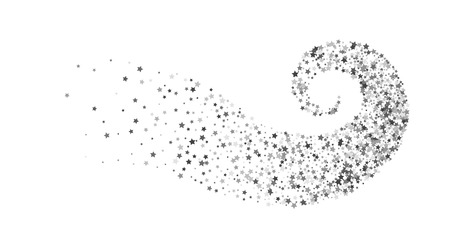 Décoration abstraite d'étoile d'argent tordue en tourbillon ou vortex. Sentier lumineux de particules étincelantes. Flux de paillettes en spirale. Conception de bannière festive, carte de voeux, invitation. Illustration vectorielle.