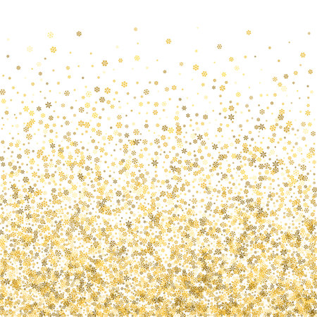 Abstract pattern of random falling gold snowflakes on white background. Glitter pattern for banner, greeting, Christmas and New Year card, invitation, postcard, paper packaging. Vector illustration. Illustration