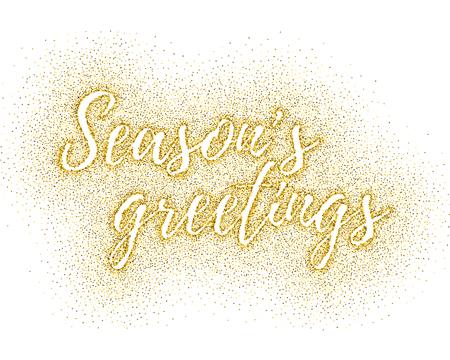 Glitter Gold Textured Calligraphic Inscription Seasons Greetings ...