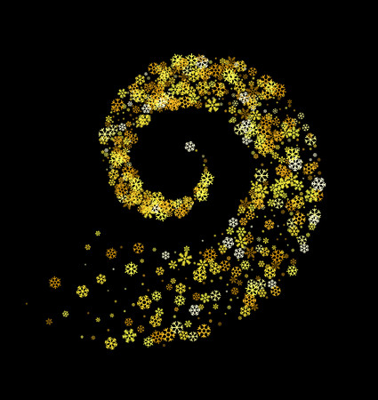 Abstract decoration of gold snowflakes twisted in vortex. Glowing trail of sparkling particle.