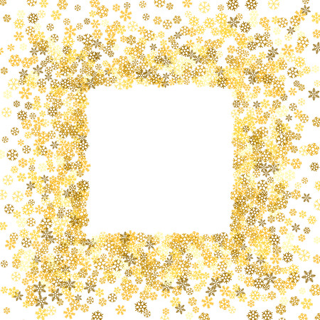 Frame or border of random scatter snowflakes