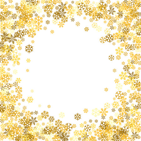 Round gold frame or border of random scatter golden snowflakes on white background. Design element for festive banner, birthday and greeting card, postcard, wedding invitation. Vector illustration.