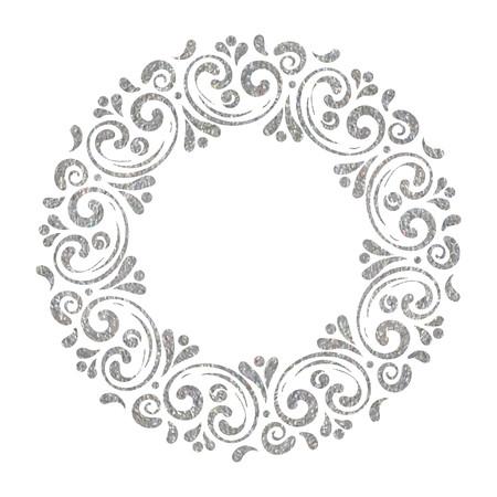 Elegant hand drawn retro floral frame on white background. Silver textured design template for banner, card, invitation, label, emblem etc. Lineart vintage border. Vector illustration. Vectores
