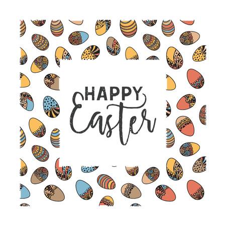 Easter doodle vector frame