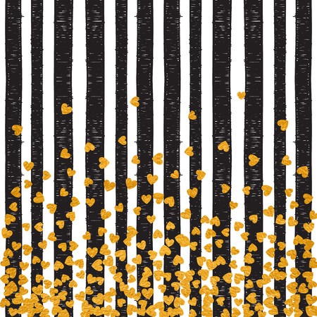 Gold pattern of falling hearts confetti on stripe background. Border design for festive banner, greeting card, postcard, wedding invitation, Valentines day and save the date card. Vector illustration. Vettoriali