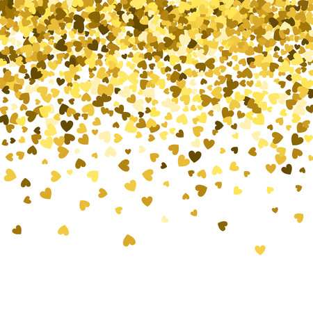 Gold pattern of random falling hearts shape confetti. Border design element for festive banner, greeting card, postcard, wedding invitation, Valentines day and save the date card. Vector illustration.
