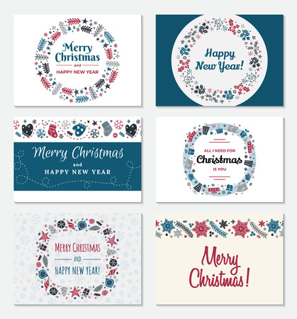 Set of Christmas greeting card in trendy Scandinavian style. Happy New year and Merry Christmas inscription. Round and square holiday frame. Vector illustration.