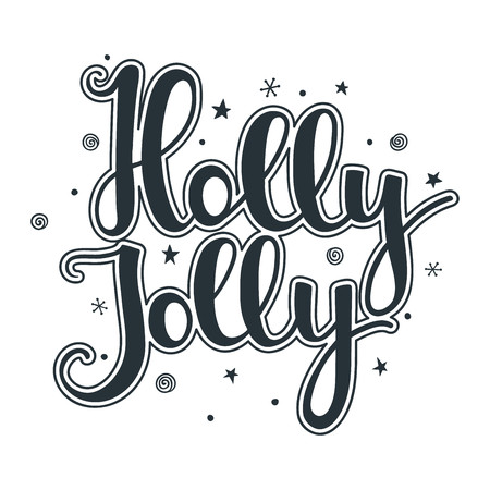 Holly Jolly quote with stars and snowflakes. Hand drawn lettering on white background. For design greeting card, postcard, invitation and banner. Xmas design. Vector illustration.