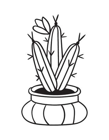 Kaktus mit Blume im Topf für Malbücher. Lustiger süßer Kaktus mit schwarzer Kontur. Mexikanische Pflanze. Gestaltungselement für Banner, Postkarte, Grußkarte, T-Shirt. Vektor-Illustration. Vektorgrafik