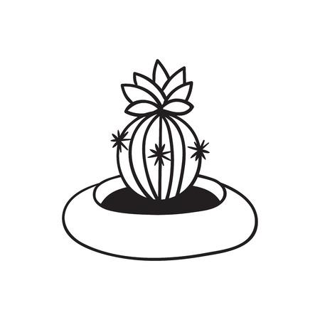 Kaktus mit Blume im Topf für Malbücher. Lustiger süßer Kaktus mit schwarzer Kontur. Mexikanische Pflanze. Gestaltungselement für Banner, Postkarte, Grußkarte, T-Shirt. Vektor-Illustration.