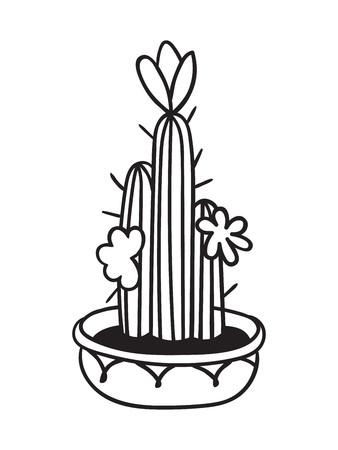 Kaktus mit Blumen im Topf für Malbücher. Lustiger süßer Kaktus mit schwarzer Kontur. Mexikanische Pflanze. Gestaltungselement für Banner, Postkarte, Grußkarte, T-Shirt. Vektor-Illustration.