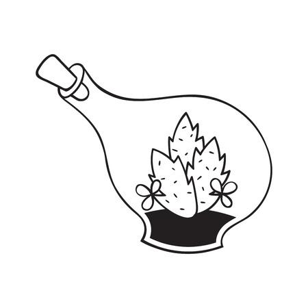 Kaktus mit Blumen im Terrarium für Malbücher. Lustiger süßer Kaktus mit schwarzer Kontur. Mexikanische Pflanze. Gestaltungselement für Banner, Postkarte, Grußkarte, T-Shirt. Vektor-Illustration. Vektorgrafik